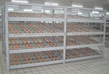 Rolling Section Carton Flow Rack 4 Beam Level Light Duty Movable Storage Management