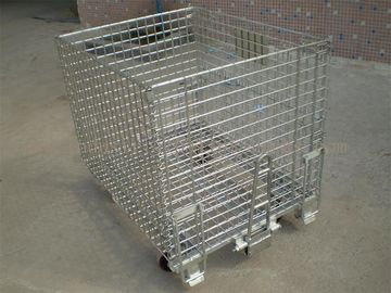 50mm * 50mm Wire Mesh Containers 4 Wheels Folding Wire Containers With Pulls